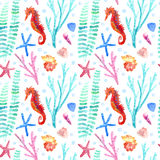 Seahorse, shell, starfish, seaweed, coral and bubbles seamless pattern. Underwater world image on a white background.Watercolor hand drawn illustration Royalty Free Stock Photography