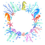 Seahorse, shell, starfish, seaweed, coral and bubbles wreath. Underwater world image on a white background.Round frame.Watercolor hand drawn illustration Royalty Free Stock Images