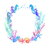 Seahorse, shell, starfish, seaweed, coral and bubbles wreath. stock illustration