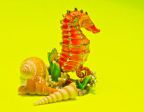Seahorse with shells Royalty Free Stock Image