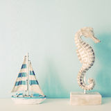 Seahorse and ship for decorated in room Stock Photo