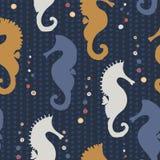 Seahorse Silhouette Seamless stock illustration