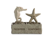 Seahorse and starfish sculpture rubber stamp Royalty Free Stock Photos