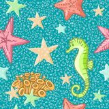 Seahorse and starfish seamless pattern on blue background. Sea life summer background. Cute sea life background. Design. For fabric and decor Stock Photos