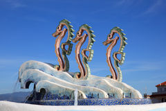 Seahorse statue and fountain Royalty Free Stock Photos
