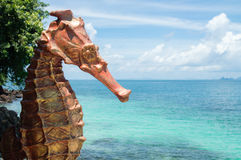 Seahorse statue tropical beach bluesky Stock Images