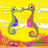 Seahorse swimming under the ocean Royalty Free Stock Photos