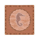 Seahorse woodcut vector illustration Stock Images