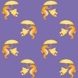 Seahorses και ψάρια Συμμετρικό άνευ ραφής υπόβαθρο Στοκ φωτογραφία με δικαίωμα ελεύθερης χρήσης