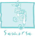 Seahorses in Blue Stock Image