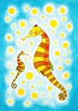 Seahorses, childs рисуя, картина акварели Стоковое Изображение