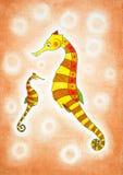 Seahorses, de tekening van het kind, waterverf het schilderen Stock Foto