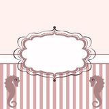 Seahorses frame. Vintage frame with seahorses. Background with stripes stock illustration