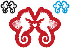 Seahorses in love. Hyppocampus or seahorses couple with heart, red, blue, black, vector Stock Photo