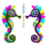 Seahorses in love with inscription Royalty Free Stock Photos