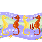 Seahorses repeating pattern Stock Images