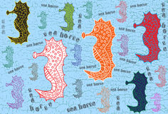 Seahorses. Texture with seahorses and text Royalty Free Stock Images