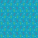 Seahorses and weeds vector seamless sea pattern Royalty Free Stock Photos