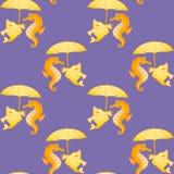 Seahorses y pescados Fondo inconsútil simétrico Foto de archivo