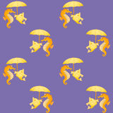 Seahorses y pescados Fondo inconsútil simétrico Fotografía de archivo libre de regalías