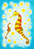 Seahorses, zeichnende childs, Aquarellmalerei Stockbild