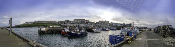 Seahouses-Hafen 8901 Pano Lizenzfreies Stockfoto
