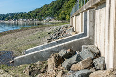 Seahurst Park Wall. Wall with fish ladder entrance at Seahurst Park in Washington State stock images