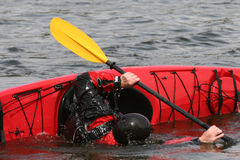 Seakayak training. Kayak training - Eskimo roll attempt Stock Photos