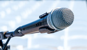 Seakers Microphone with Chairs in Background stock photography