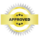 Seal of approval. Illustration of a golden and silver seal of approval royalty free illustration