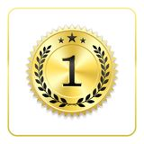 Seal award gold icon. Blank medal with laurel wreath, isolated white background. Golden design emblem. Symbol of. Assurance, winner, guarantee and best label Royalty Free Stock Photography