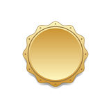 Seal award gold icon. Blank medal with stars isolated white background. Stamp for design. Golden emblem. Symbol of assurance, winner, guarantee and best label Stock Images