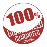 Seal or banner of one hundred percent guaranteed in red and whit. E. 3D Illustration stock illustration