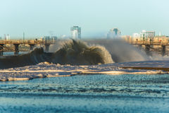 Seal Beach Shore Break Flair. An exploding wave breaking on the shore in Seal Beach, California Royalty Free Stock Photography