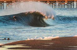 Seal Beach Shore Break Flair. A Perfect wave breaking on the shore in Seal Beach, California Stock Photography