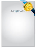 Seal on blue ribbon and paper Stock Photography