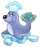 Seal chef with fishes Stock Images