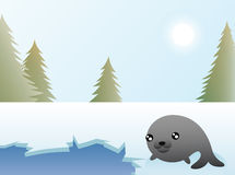 Seal Christmas Card. Greeting card design, a seal resting by a hole in the arctic ice Stock Photography