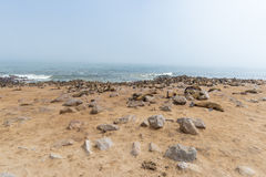 The seal colony at Cape Cross, on the atlantic coastline of Namibia, Africa. Expansive view on the beach, the rough ocean and the. Foggy sky Stock Photos