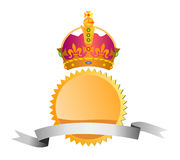Seal with crown and ribbon Royalty Free Stock Image