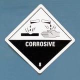 Señal de peligro corrosiva del símbolo del peligro en azul Imagen de archivo libre de regalías