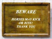 Señal de peligro de los caballos Fotografía de archivo libre de regalías