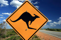 Señal de peligro del canguro, Australia del oeste Fotos de archivo libres de regalías