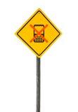 Señal de tráfico con el teléfono celular cruzado. Fotos de archivo
