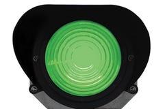 Señal de tráfico ferroviaria de la luz verde aislada Imagenes de archivo