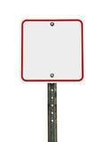 Señal de tráfico roja blanca cuadrada en blanco Imagenes de archivo