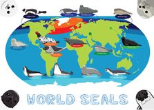 Seal Distribution World Map Cartoon Vector. Animal Cartoon EPS10 File Format Stock Photo
