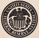 Seal of the Federal Reserve System on the us 100 dollar bill ex Stock Photography