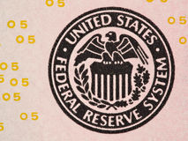 Seal of the Federal Reserve System on the us  5 dollar bill macr Royalty Free Stock Photos
