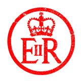 Elizabeth`s Reign Emblem Rubber Ink Stamp. The seal found on several of Englands gates in London as an ink stamp Stock Image